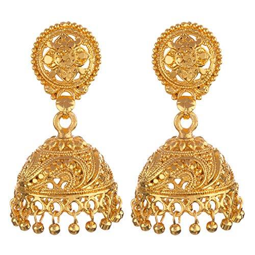 Efulgenz indisches Bollywood 14 Karat vergoldet Jhumka Jhumki Hochzeit Brautschmuck Brautschmuck
