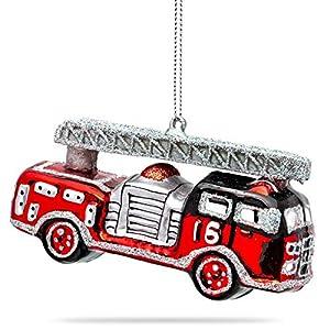 SIKORA BS460 Feuerwehrauto Christbaumschmuck Glas Figur Weihnachtsbaum Anhänger