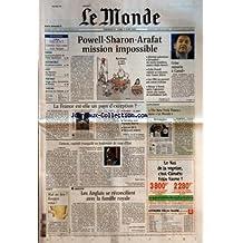 MONDE (LE) [No 17797] du 14/04/2002 - PAPON - LA RESPONSABILITE DE L'ETAT REPUBLICAIN - AUTOMOBILE - EN PLEINE LUMIERE - GOLF - AU MASTERS D'AUGUSTA - PORTRAIT - SERGE LALOU, DOCUMENTS ET FICTION - THEATRE - BUCHNER AU FRANCAIS -POWELL-SHARON-ARAFAT MISSION IMPOSSIBLE - CRISE OUVERTE A CANAL+ - LA FRANCE EST-ELLE UN PAYS D'EXCEPTION ? - CARACAS, CAPITALE TRANQUILLE AU LENDEMAIN DU COUP D'ETAT PAR MARIE DELCAS - MAL AU DOS ? BOUGEZ-VOUS ! - LES ANGLAIS SE RECONCILIENT AVEC LA FAMILLE R