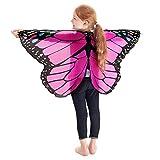 URSING Frauen Schmetterling Flügel Schals Nymphe Pixie Poncho Kostüm Verkleidung Zubehör für Show / Daily / Party, Damen Schöner Chiffon Schmetterlingsflügel Schal (118*48cm, Pink_Kinder)