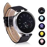 Flylinktech® S365 Montre Connectée Bluetooth Podomètre Smart Watch Sport Ronde Smartwatch avec Anti-perte Siri pour Android et iOS iPhone 4/4S 5/5S 6/6 Plus Samsung Galaxy S3/S4/S5/S6 HTC/Sony Argent...