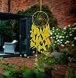 #9: ILU Dream Catcher Wall Hanging Handmade Beaded Circular Net Decoration Item Yellow Size 16 CM Diameter