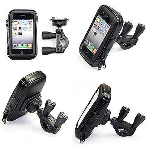 Cheeroyal Universal 360 ° GPS Commutateur WaterProof mont Motorcycle Case Moto stand Phone Holder Vue arrière mont miroir pour iPhone pour Samsung téléphone S4 S5 S6 S7 Note 2 3 4 5 iPhone 4 5 6 6s 6 Plus LG HTC (L)