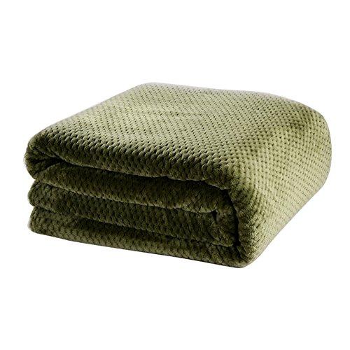 Normallack flanell werfen decke hand stricken luxus thermische klimaanlage decke wärmer weich flauschig gemütlich flauschig warm modern für couch bett sofa lounge büro - armee grün (Werfen Thermische)
