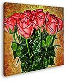 deyoli Blumenstrauß Rosen Format: 40x40 Effekt: Zeichnung als Leinwandbild, Motiv fertig gerahmt auf Echtholzrahmen, Hochwertiger Digitaldruck mit Rahmen, Kein Poster oder Plakat