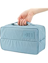 Lemish Travel Handle Divided Underwear Socks Undergarments Waterproof Pouch Organizer Bag Packing (Assorted Color)