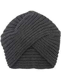 Dxlta Mode Hiver Femmes tricoté Turban Chapeau, Bonnets Mignons, Crochet  Croix Chapeaux Noir df13d2bf9f0