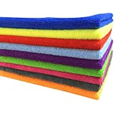 SOFTSPUN B Quality Microfiber Cloth - Going Cheap! 8 pcs - 40x40 cms - 340 GSM - Assorted Colour - Thick Lint & Streak-Free Multipurpose Cloths - for Car Bike Cleaning Polishing Washing & Detailing.