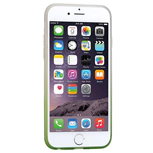 Coque iPhone 6, Housse iPhone 6S Noir Dégradé Silicone Souple Etui GrandEver TPU Back Cover Clair Transparente Case Caoutchouc Rubber Gel Cases Haute qualité Flexible Soft Back Case coquille Couvertur Vert
