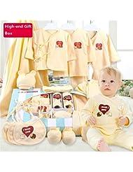 SHISHANG Caja de regalo del bebé Caja pura 100% del regalo del algodón (17 sistemas) Ropa del bebé Muchacha del muchacho Cuatro estaciones para el bebé 0-2-Year-old , light blue