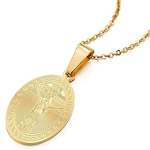 Stainless Steel Men Women Gold Color Oval Miraculous Medal Greek Key Crucifix Cross Pendant Necklace