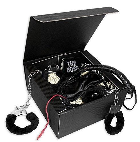 Geschenkset 50 Shades of Black- Set aus Plüschhandschellen, Fußfesseln, Augenbinde, Peitsche, Mr. Grey Mints.