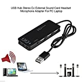 ZEERKEER USB2.0 Hub 3 Ports USB Soundkarte, Stereo Soundkarte mit Noise Cancelling Headset-Adapter, Drive-Free für Laptops, Tablets und Ultrabooks (Schwarz)