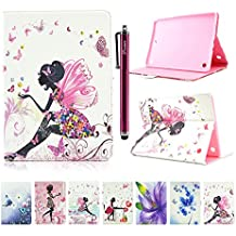 Galaxy Tab A 9.7 T550 Funda, Galaxy Tab A 9.7 T550 Cover, DEENOR Butterfly Girl Diseño Flip Carcasas PU Cuero Cover Stand Funda Carcasas para Samsung Galaxy Tab A 9.7 SM-T550. (Butterfly Girl).