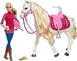 Barbie FTF02 - Traumpferd und Puppe, laufendes Pferd mit Berührungs- und Geräuschsensoren