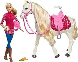 Mattel Barbie FTF02 - Traumpferd und Puppe, laufendes Pferd mit Berührungs- und Geräuschsensoren