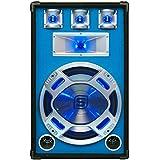 Skytec Enceinte DJ passive - Haut parleur sono (subwoofer 38 cm, 800 W) bleu avec LED