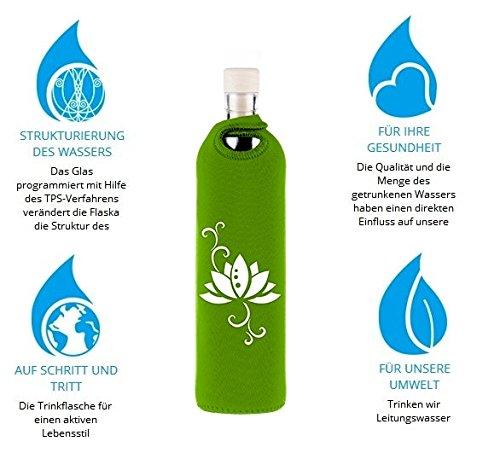 Design Lotus 0,75 Liter - Flaska Trinkflasche Wasserflasche Glasflasche zum regelmäßigen Wassertrinken + 2 Korken