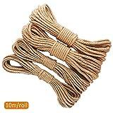 4 unità di Corde di Iuta Naturale Spessa e Resistente, Spessore del Cavo e Corda di Canapa Naturale per Artigianato e Decorazione, 10 m ciascuna, di Filo di Canapa