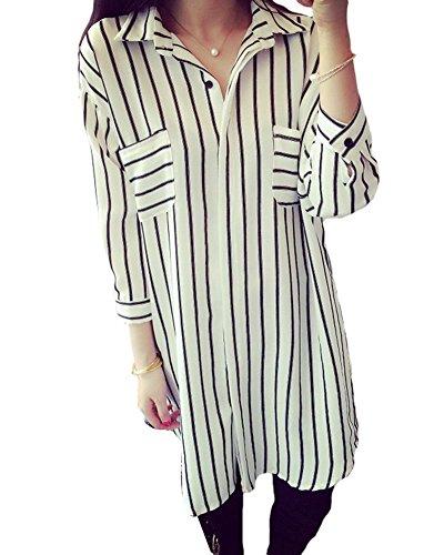 Donna camicetta chiffon lunghe abito corto camicie a righe camicie tunica vestito bianca 3xl
