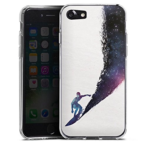 Apple iPhone X Silikon Hülle Case Schutzhülle Surfer Universum Welle Silikon Case transparent