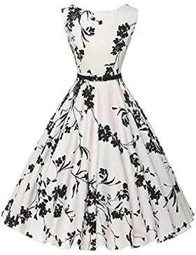 ♪ZEZKT♪Audrey Hepburn 50s Retro Vintage Bubble Skirt Rockabilly Swing Evening Kleider Blumen Festliches Kleid...
