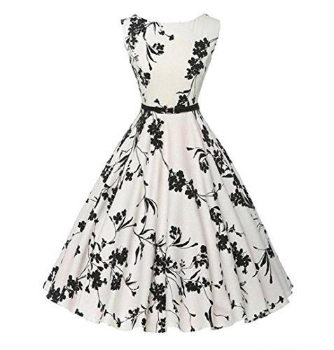 ♪ZEZKT♪Audrey Hepburn 50s Retro Vintage Bubble Skirt Rockabilly Swing Evening Kleider Blumen Festliches Kleid Petticoat Kleid Übergröße Rockabilly Cocktailkleid Große Größen (S, Weiß) (Bubble Skirt)