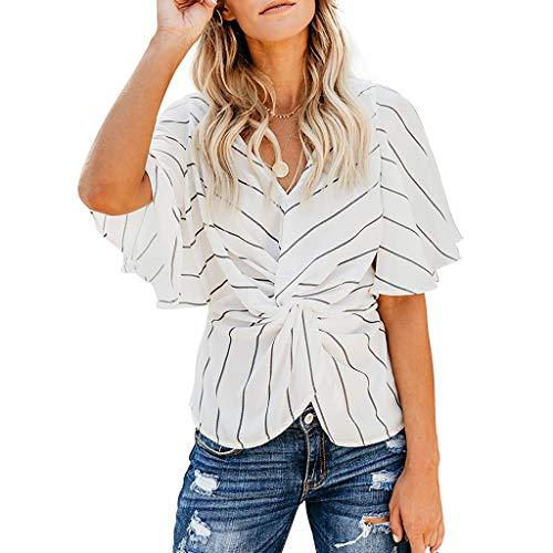Andouy Damen Hemd Gestreiftes Taillenbund mit V-Ausschnitt Sexy Kurzarm Top Gr.36-42 Beach Daily Bluse(XL(42),Weiß)