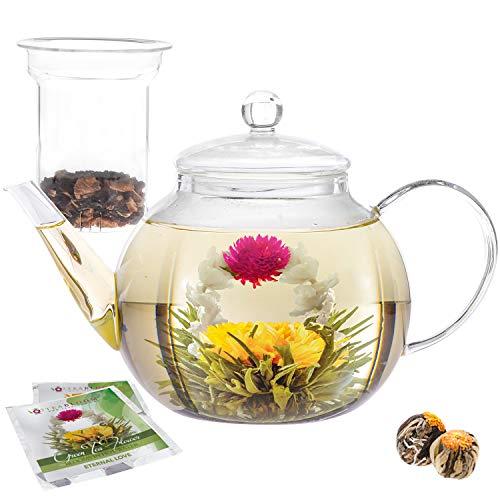 Teabloom set teiera in vetro con infusore - capacità 6-8 tazze - perfetta per tè sfuso o fiori di tè - 2 fiori di tè inclusi (teiera 1200 ml)