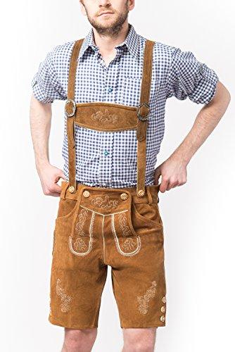 Tannhauser 0108-03-56 - pantalones de cuero de gamuza Anton corto, castaño