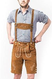 Tannhauser 0108-03-50 - pantalones de cuero de gamuza Anton corto, castaño