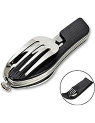 Cubiertos plegables, ZITFRI 4 en 1 set de cubiertos camping de acero inoxidable cuchara tenedor cuchillo y abridor para pícnic viaje, con funda