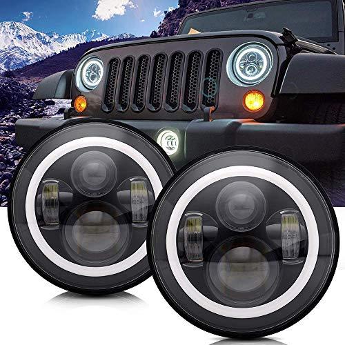 7 Pollici Bianchi Fari Ring Light Occhi Di Angelo A LED + Indicatore Di Direzione Ambrato