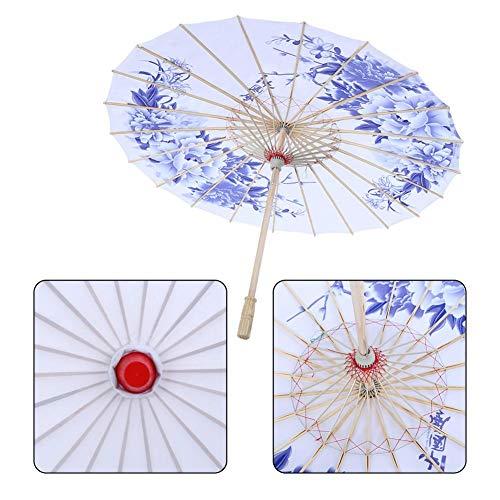 Tanz Kostüm Regenschirm - Diyeeni Traditioneller Chinesischer Sonnenschirm aus Strapazierhaftige Tuch, Schirm Durchmesser 82cm, Holzgriff 55cm, Wunderbares Kostüm Tanz Fotografie Kunst Zubehör Party (Blau)