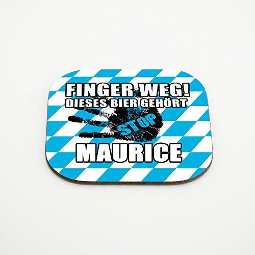 Untersetzer für Gläser mit Namen Maurice und schönem Motiv - Finger weg! Dieses Bier gehört Maurice