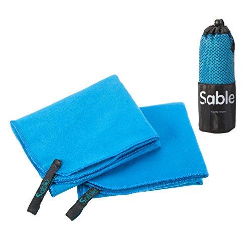 Sable asciugamano microfibra 2 pezzi da palestra, spiaggia, sportive, viaggio, campeggio, mare, tennis, golf, trekking ect (blu, 2 pezzi di 50 * 30cm)