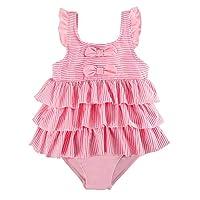 7-Mi Girls Swimming Costume, Cute Skirted Kids One Piece Swimsuit Swimwear- 2-6Years