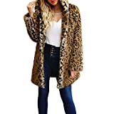 VJGOAL Damen Mäntel, Damen Luxus Mode Kapuzen Winter Warm Faux Pelz Leopard Prints Mantel Jacke Parka Oberbekleidung Lange Tops Streetwear (Schwarz, 34)