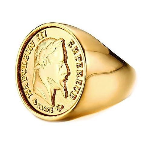 BOBIJOO Jewelry - Chevalière Bague Dorée Or Fin Massive Ronde Pièce 20 Francs NAPOLEON Tête Laurée - 66 (11 US), Doré