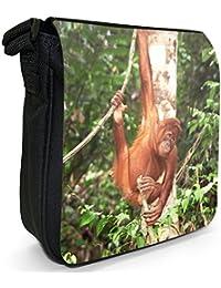 Orangutan Monkey Primates Animal Small Black Canvas Shoulder Bag - Size Small