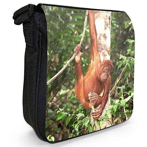 Orangutan Scimmia primati animali piccolo nero Tela Borsa a tracolla, taglia S Swinging Sumatran Orangutan