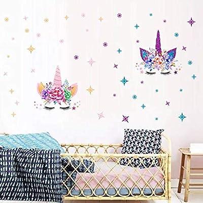 MAFENT Einhorn Wand Aufkleber Regenbogenfarben Wandtattoo Spiegelnde Wand Aufkleber Für Mädchen Schlafzimmer Spielzimmer Dekoration von MAFENT bei TapetenShop