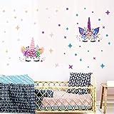 MAFENT Einhorn Wand Aufkleber Regenbogenfarben Wandtattoo Spiegelnde Wand Aufkleber Für Mädchen Schlafzimmer Spielzimmer Dekoration (Mehrfarbig)