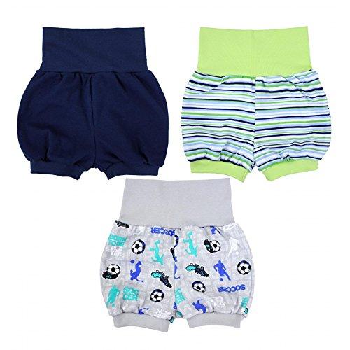 TupTam Baby Unisex Kurze Pumphose Baumwolle 3er Pack, Farbe: Junge, Größe: 80/86