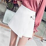 Hohe Taille unregelmäßige Shorts Rock Frauen lose Kleid mit weitem Bein Shorts, weiß, XL