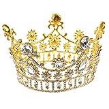 Generic Donna Sposa Partito Cristallo Strass Diadema Corona Tiare Gioielli per capelli Oro immagine