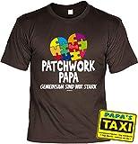 Vater Geschenk-Set - Sprüche T-Shirt Papa + Sprüche Blech-Schild : Patchwork Papa Gemeinsam sind wir stark & Papas Taxi - Deko Sprüche-Schild Eltern/Papa Gr: 3XL