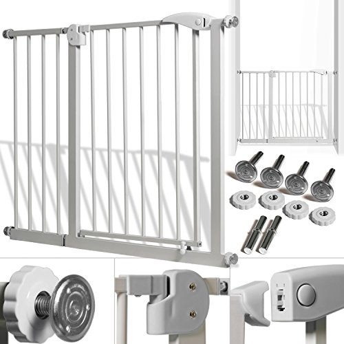 Kidiz® Türschutzgitter ✓ Absperrgitter ✓ Treppengitter ✓ Kindergitter | Gitter Haustier | Farbe: Grau | Größe: 102 - 115 cm