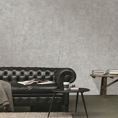 Non-Woven industrielle Wind Tapete Uni Farbe American ländlichen Nachahmung Stoff Wohnzimmer Schlafzimmer Hintergrund Wand Papier kaufen drei bekommen eine ( Color : Light gray )