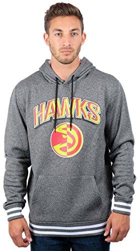 UNK NBA Herren ghm3543F NBA Team Stripe Rib Fleece Pullover Hoodie Sweatshirt, Herren, GHM3543F, Heather Charcoal Fleece-screen Print Pullover